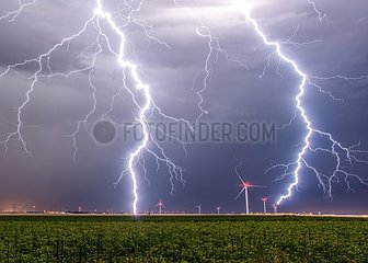 Lightning and wind in the eveningin countryside - France