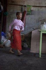 Nun cooking dinner Nyaung Shwe in Burma