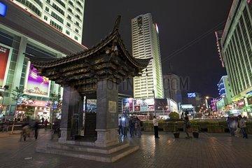 Nightlife of the pedestrian street of Kunming in Yunnan