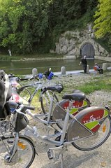 Cyclists along the Rhone-Rhine canal on bicycle Euro 6
