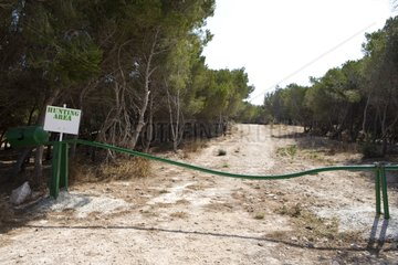 Barrier at the entrance to a hunting area Malta