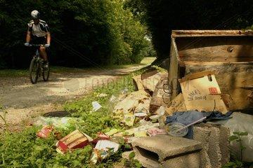 Immondices jetés au bord d'un petit sentier boisé France