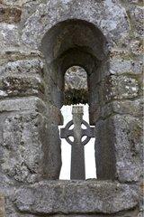 Celtic crucifix in the monastery of Clonmacnoise Ireland