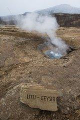 Litli geysir is a boiling geyser in the Geysir field-Iceland