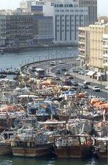 Boats on the Port of Dubai United Arab Emirates