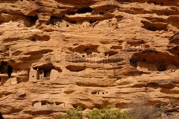 Cliff at the village of Ireli in Dogon country Mali