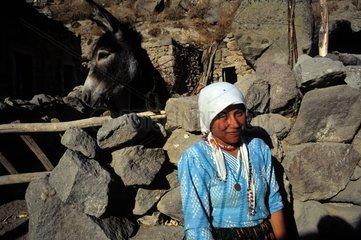 Girl and her donkey Hibara Valley Central Anatolia