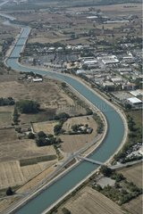Air shot of Manosque canal France