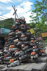 Christmas tree made with chainsaws Philippines