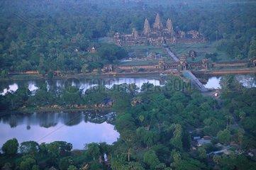 Temple of Angkor Vat seen of a tethered balloon Siem Reap Kampuchea