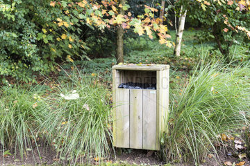 Wooden trash in a natural space  autumn  Somme  France