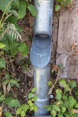 Water recovery valve with zinc flap on a gutter  summer  Moselle  France