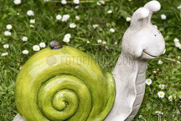 Snail on a decorative snail in a garden  spring  Pas de Calais  France