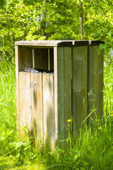 Wooden trash in a natural space  spring  Somme  France