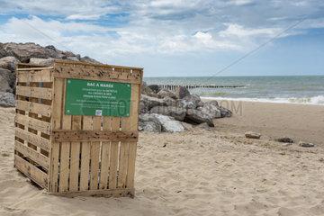Tidal bin on a beach on the Opal Coast  summer  Pas de Calais  France