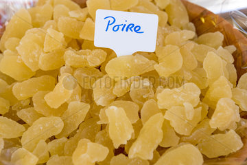 Pieces of candied pears on a market stall  summer  Provence  France