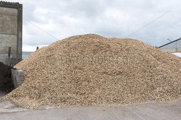 Pile of bark mulch in a municipal greenhouse  spring  Pas de Calais  France