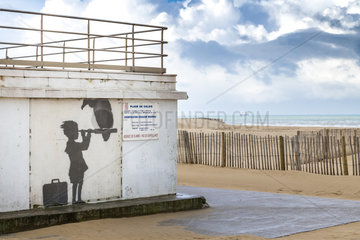 Fresco of the artist Banksy realized on the rescue station of the beach of Calais  Hauts-de-France