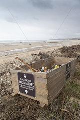 Tidal bin on a beach on the Opal Coast in winter  Tardinghen  Pas de Calais  France