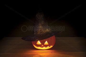 Illuminated Halloween pumpkin.