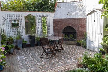 Dining area in a patio  autumn  Pas de Calais  France