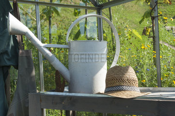 Interior of a garden greenhouse with potting table and gardener equipment  summer  Moselle  France