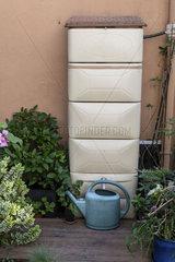 Rainwater collector on a garden terrace