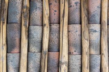 Inner face of a Provencal tile roof  summer  France