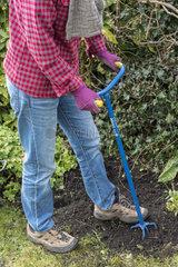 Gardener aerating his land with a rotating claw  spring  Pas de Calais  France