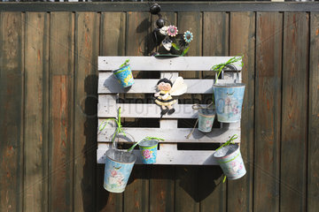 Palett serving as a support for garden decorations  on a terrace  autumn  Somme  France