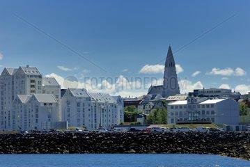 With the church Hallgrímskirkja Reykjavik in Iceland