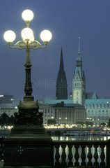 Kennedy bridge and Town Hall Hamburg Germany