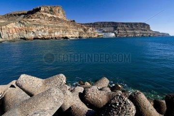 Cliffs of Puerto de Mogán in Canary Islands