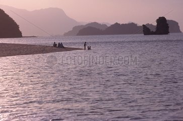 Family playing at the edge of the beach Island of Langkawi Malaysia