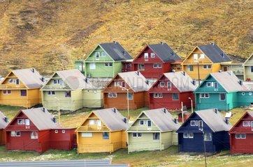 Multicoloured houses of Longyearbyen Spitzberg