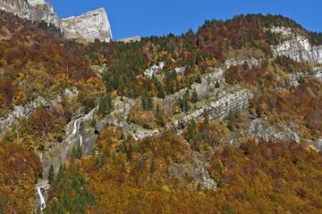 Salvadon waterfall in autumn - Sixt Passy Alpes France