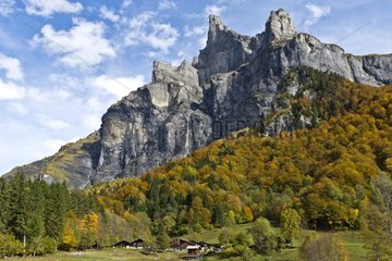 Peak Tenneverge and hamlet Frenalay-Sixt Passy Alps France