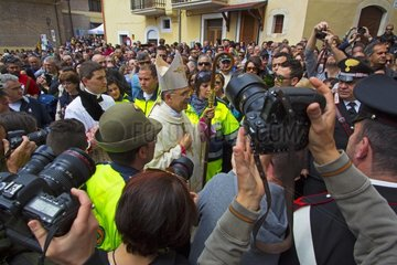 Arrival of Sulmona bishop - Snakes ceremony Cocullo Italy