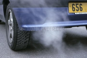 Automobile pollution escaping from a muffler France