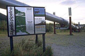 Information board on the oil pipeline across Alaska
