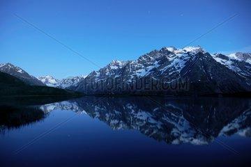 Reflecting the Meije lake Pontet -Ecrins Alpes France