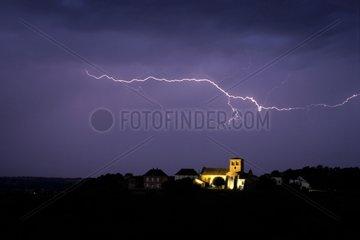 Intercloud lightning above the village of Iguerande France