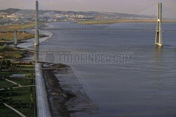 Bridge Vasco de Gama on Tage in Lisbon Portugal