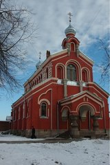 XIX century old monastery with the red walls Russia