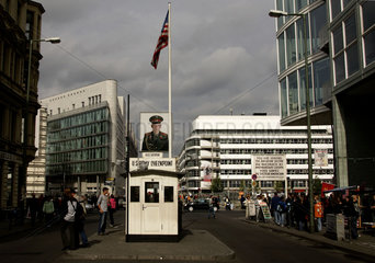 Berlin  picture of Russian soldier at checkpoint Charlie in the Friedrichstrasse