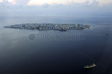Maldives  aerial view of the capital Male in the Indian Ocean