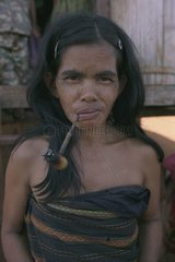Portrait of a Tampoun woman at the village of Paor Kampuchea