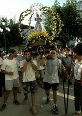 Olvera  procession with local saint
