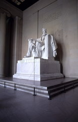 The beautiful color of the famous Lincoln Memorial Monument statue in Washington DC in the USA
