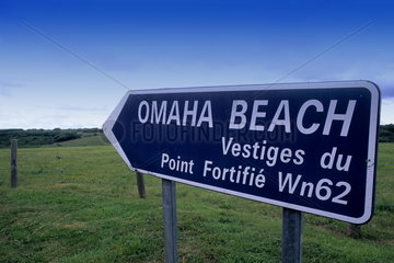 signage and sign near Omaha Beach in Normandy France